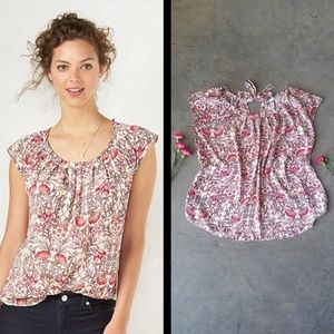 LC Lauren Conrad Floral Pleated Sleeveless Top